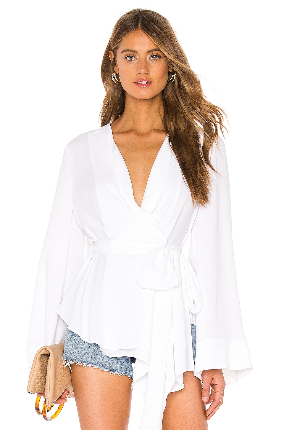 BCBGMAXAZRIA Wrap Blouse in Optic White
