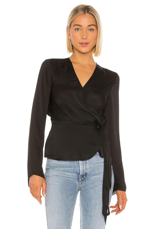BCBGMAXAZRIA Woven Wrap Top in Black