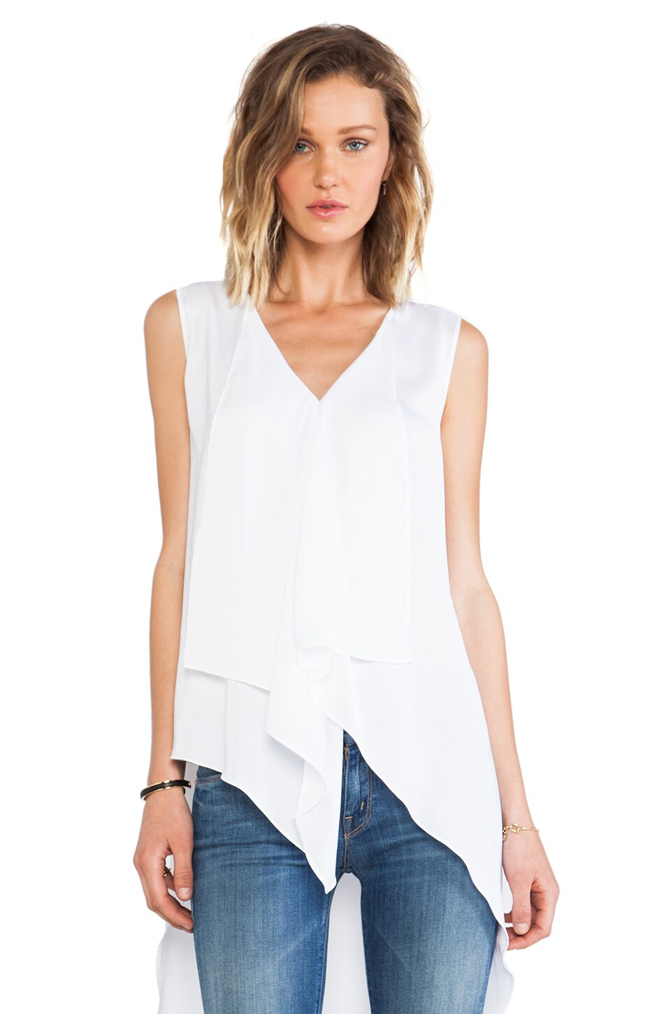 BCBGMAXAZRIA Asymmetrical Tank in White