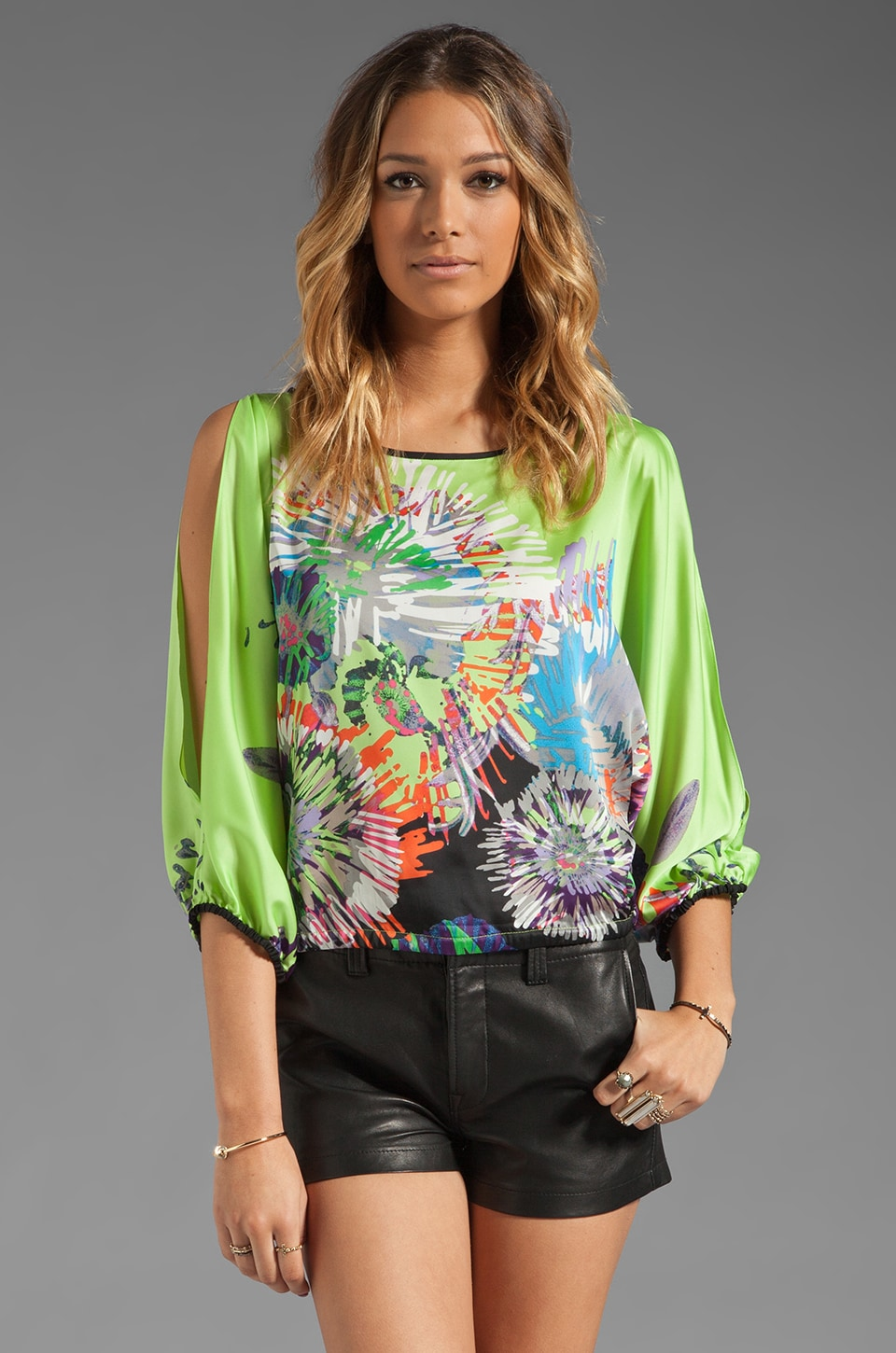 BCBGMAXAZRIA Floral Top in Neon Yellow
