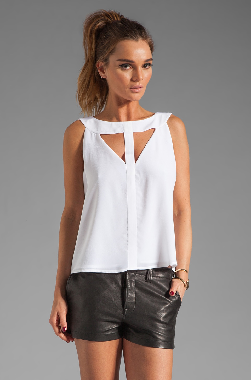 BCBGMAXAZRIA Cut Out Tank in White
