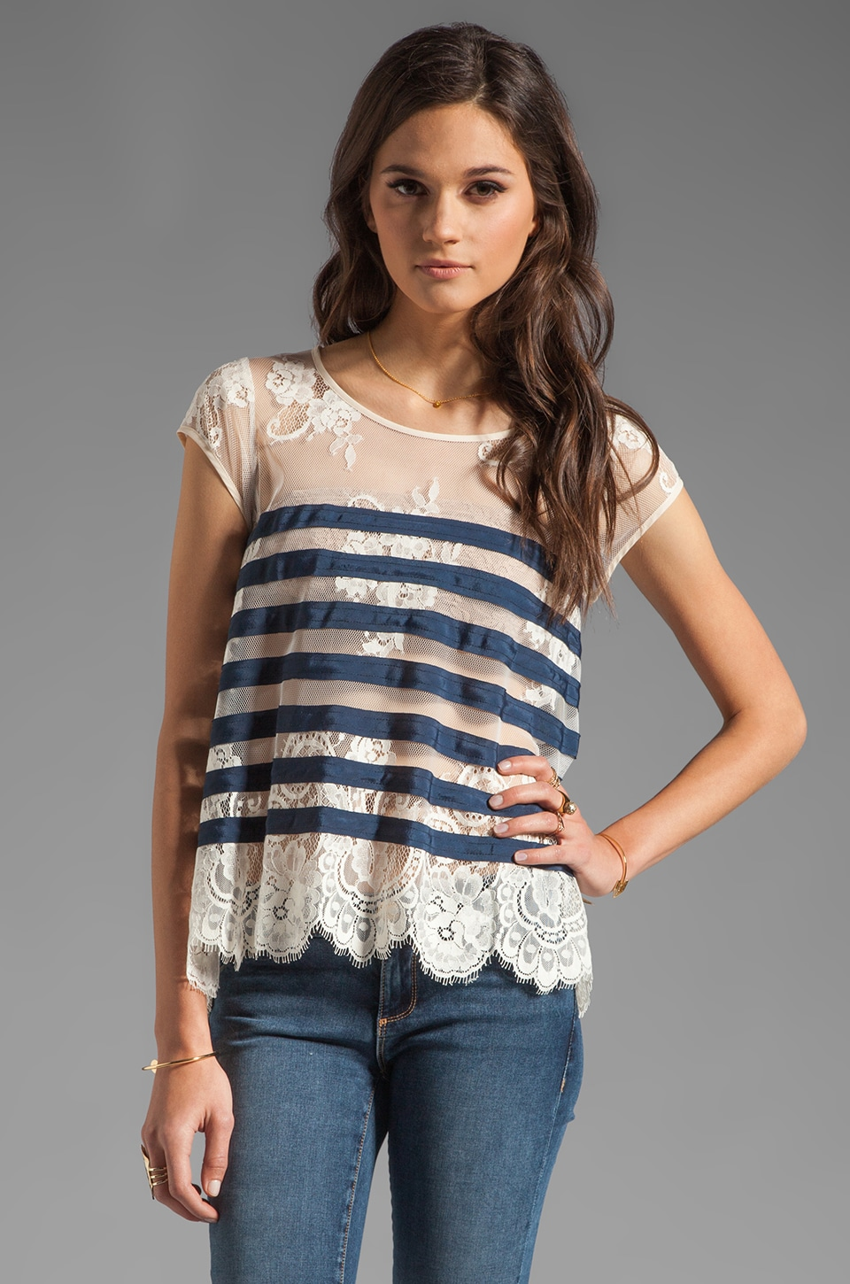 BCBGMAXAZRIA Striped Short Sleeve Top in Carbon Combo