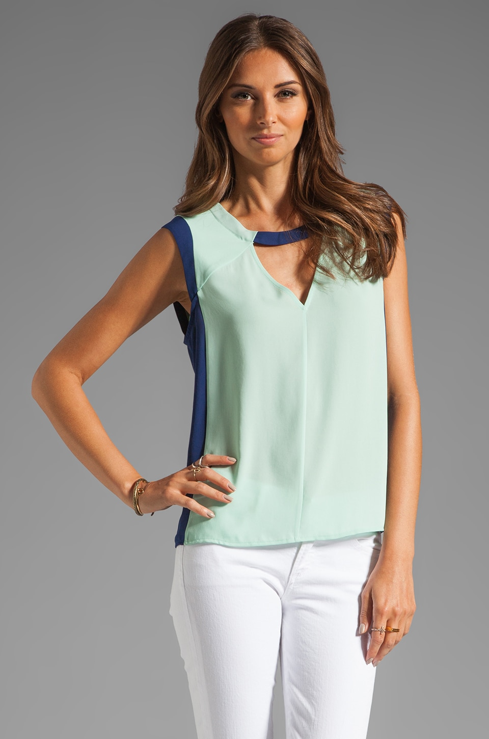 BCBGMAXAZRIA Triangle Cut Out Tank in Opaline Green Combo