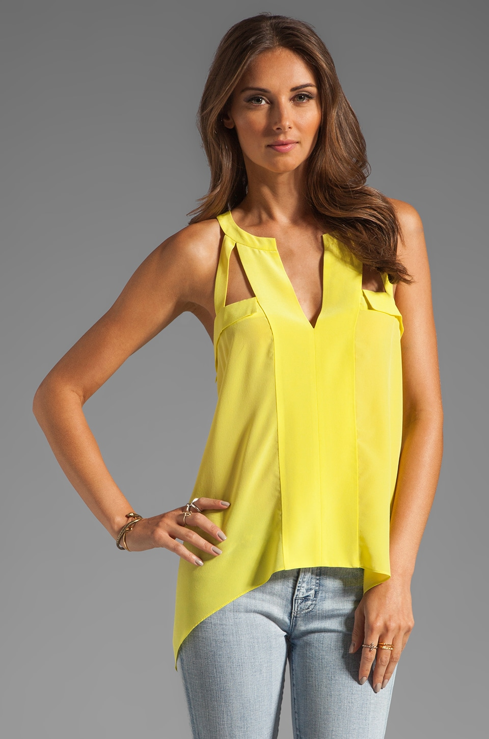 BCBGMAXAZRIA Asymmetrical Blouse in Light Lemongrass