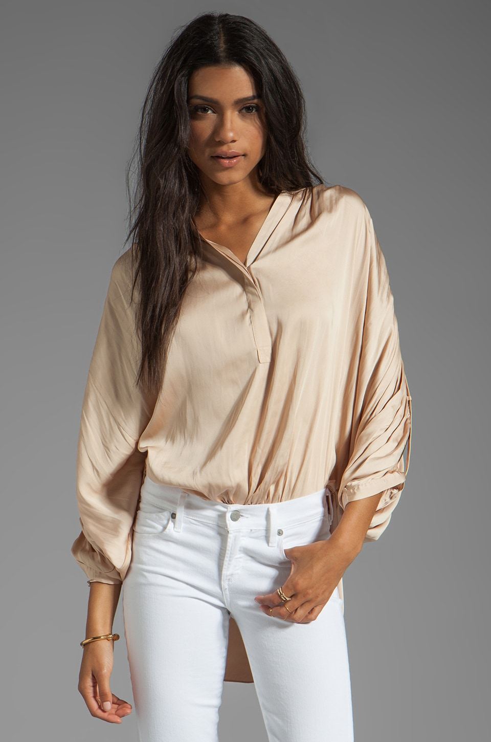 BCBGMAXAZRIA Butterfly Sleeve Top in Powder