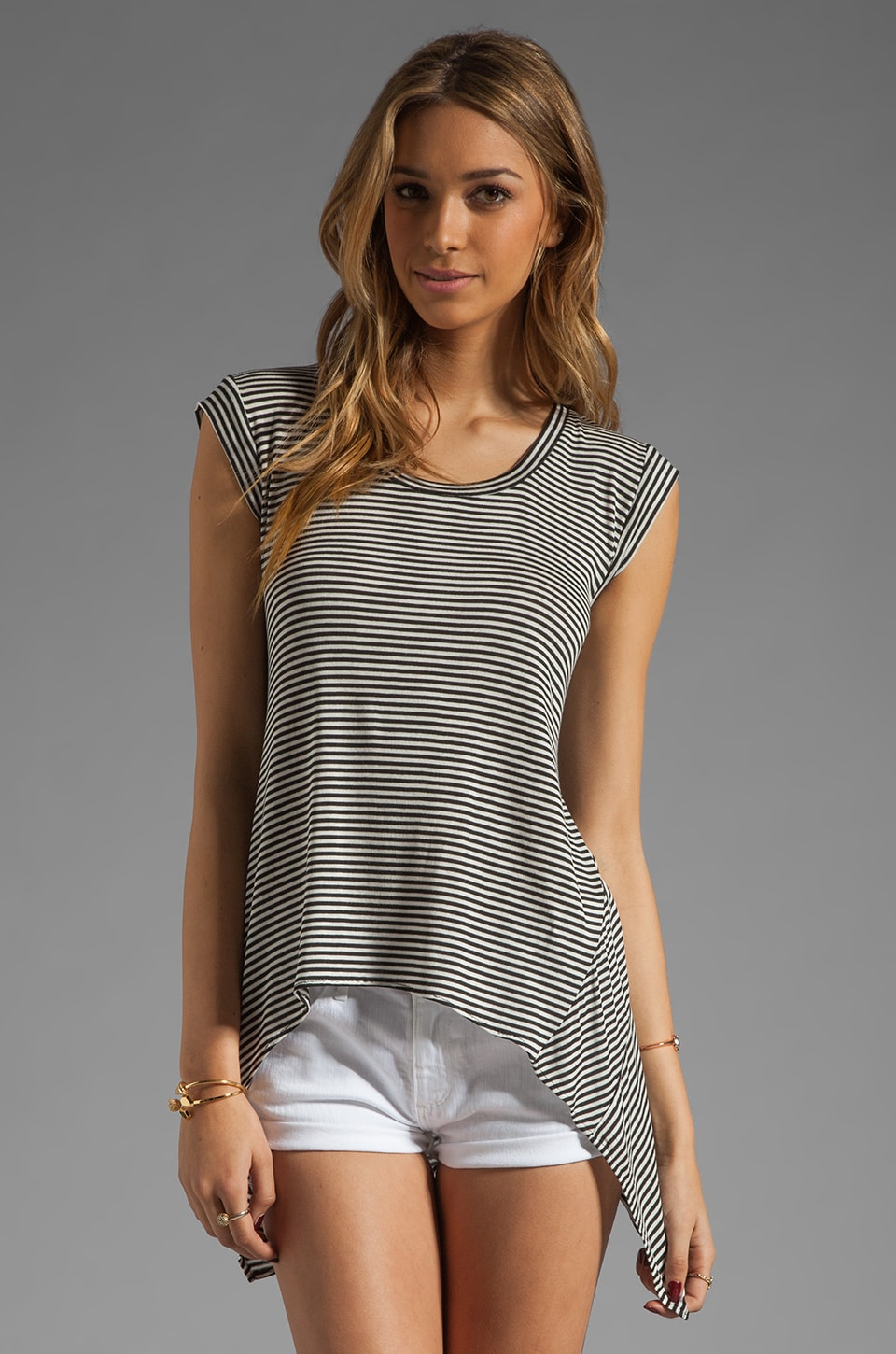 BCBGMAXAZRIA Striped Tee in Black/White