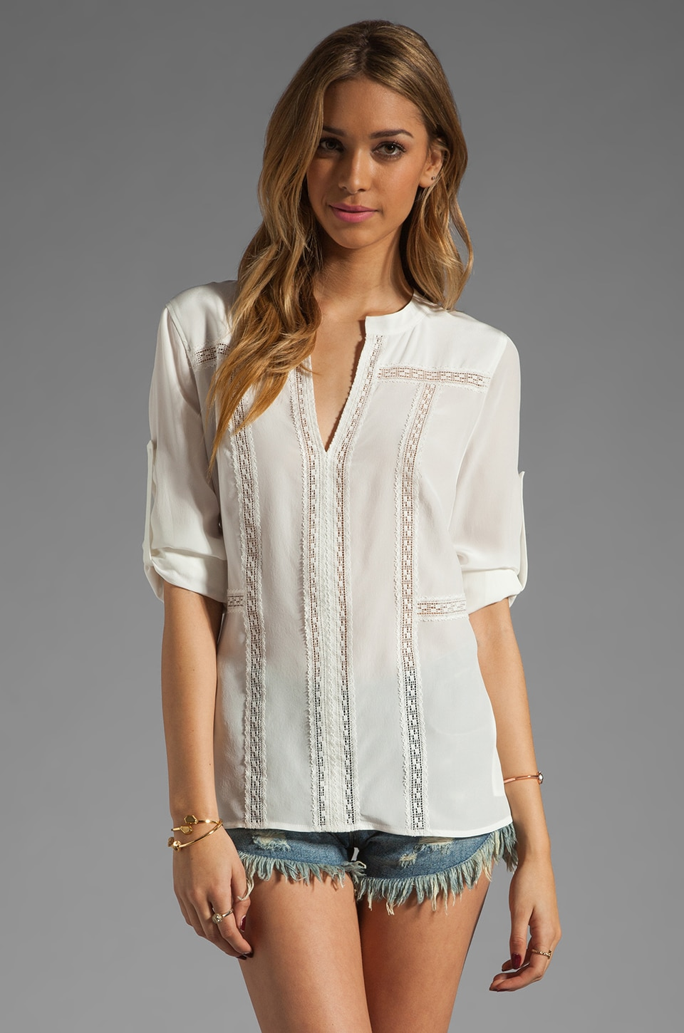 BCBGMAXAZRIA Vertical Stripe Shirt in Off White Combo