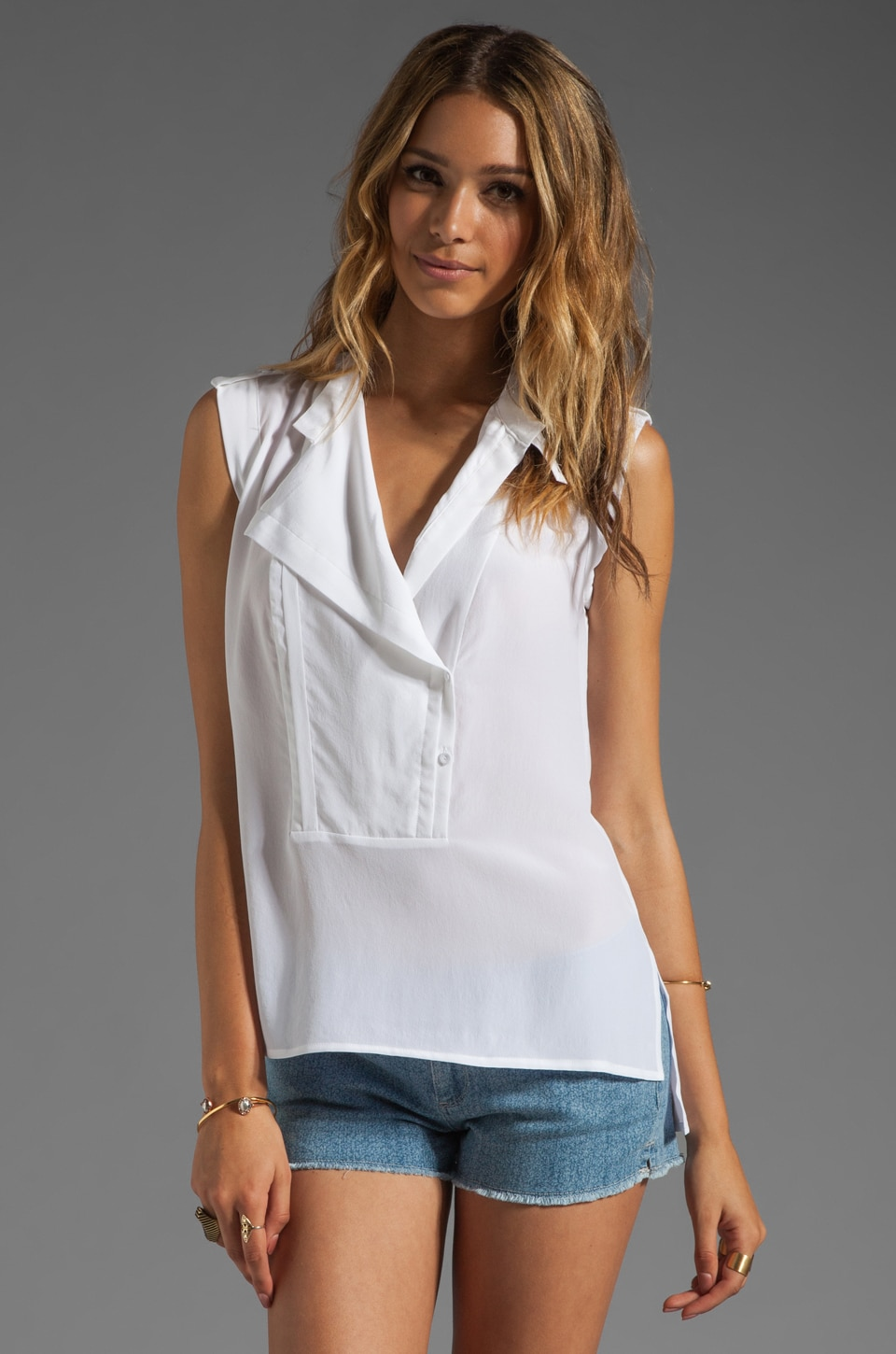 BCBGMAXAZRIA Open Front Blouse in White