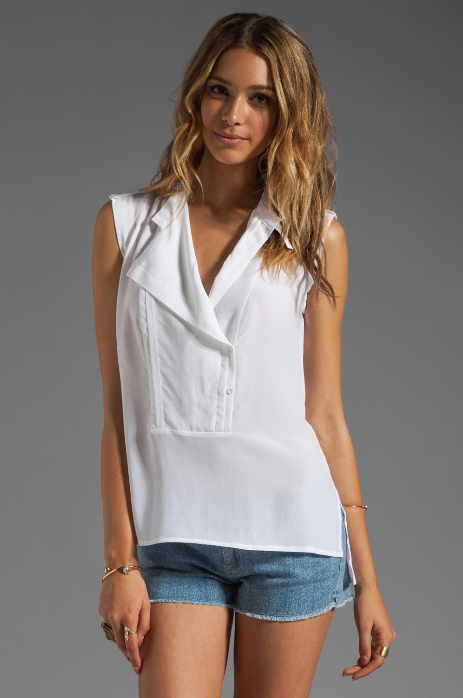 BCBGMAXAZRIA Open Front Blouse in White