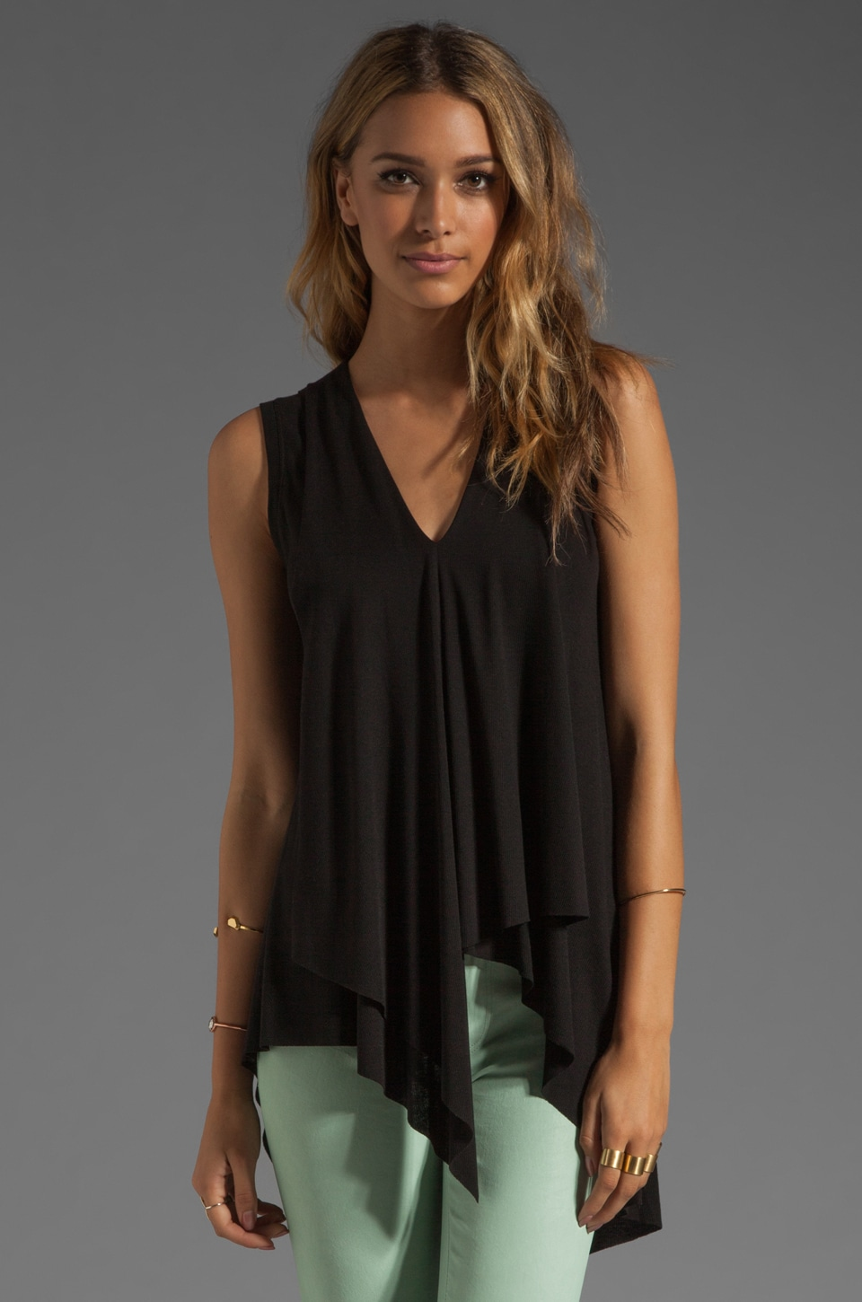 BCBGMAXAZRIA Asymmetrical Hem Top in Black
