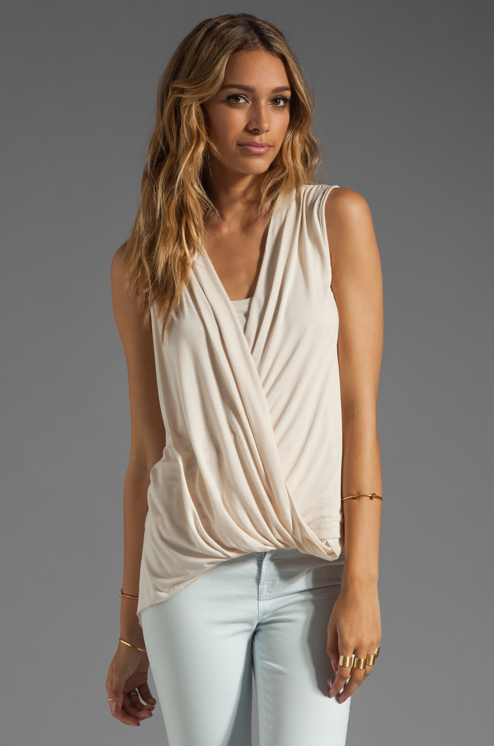 BCBGMAXAZRIA Drape Top in Rose Whisper