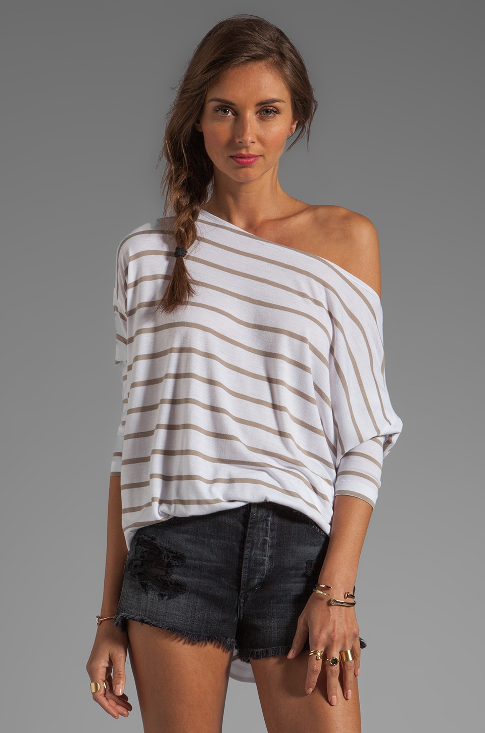 BCBGMAXAZRIA Striped Top in White/Hazelnut Combo