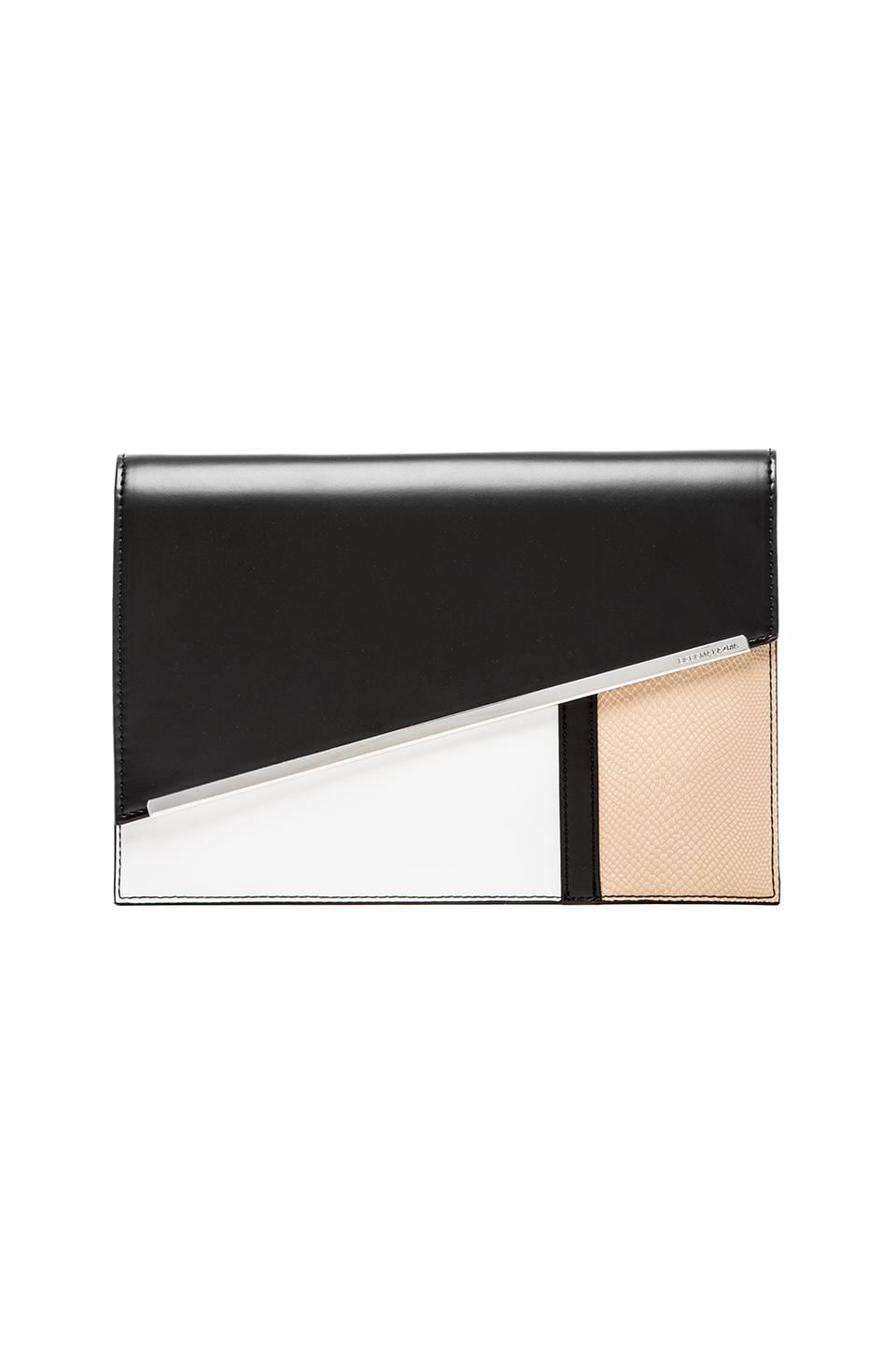 BCBGMAXAZRIA Blocked Asymmetrical Envelope Clutch in Black Combo