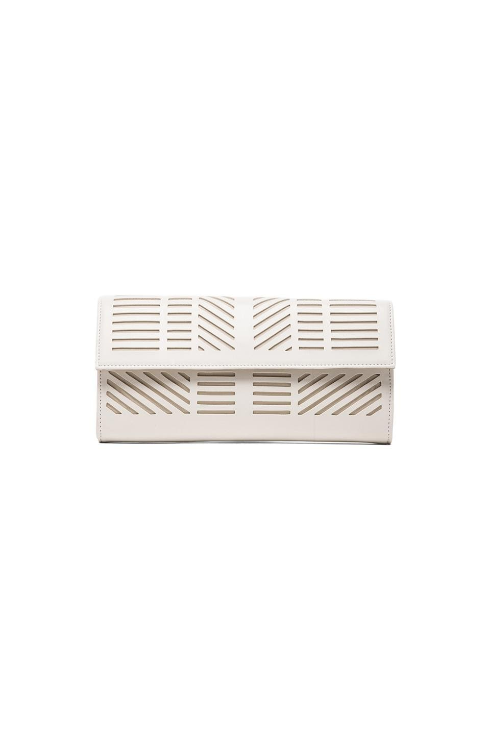 BCBGMAXAZRIA Geometric Pef Clutch in White