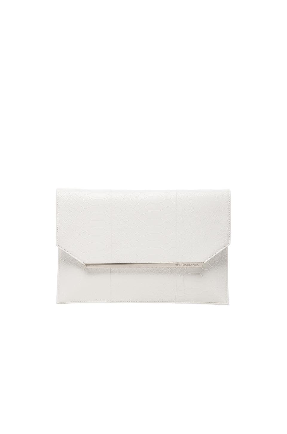 BCBGMAXAZRIA New Snake Envelope Clutch in White