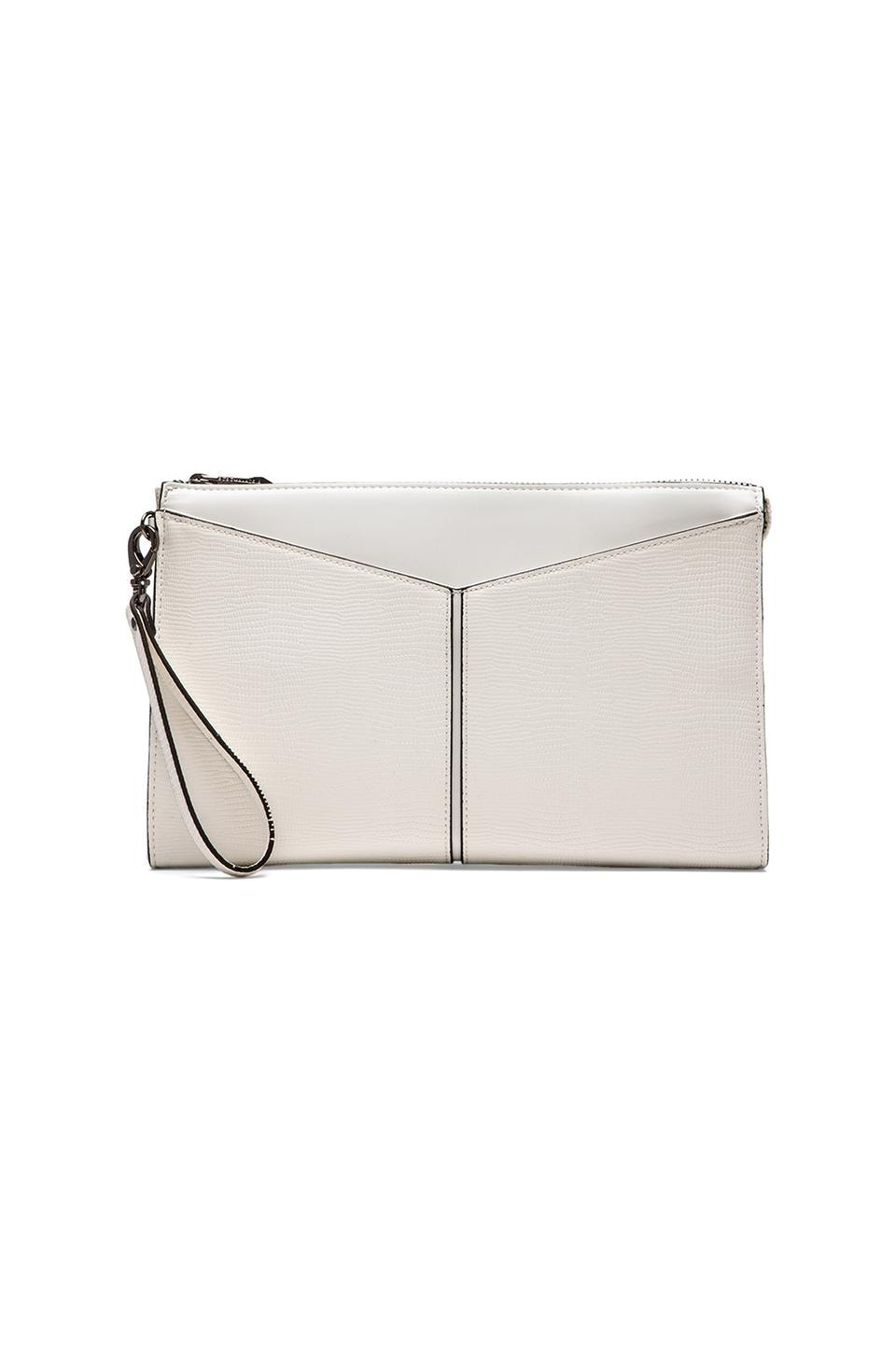 BCBGMAXAZRIA Angled Slip Pocket Clutch in White