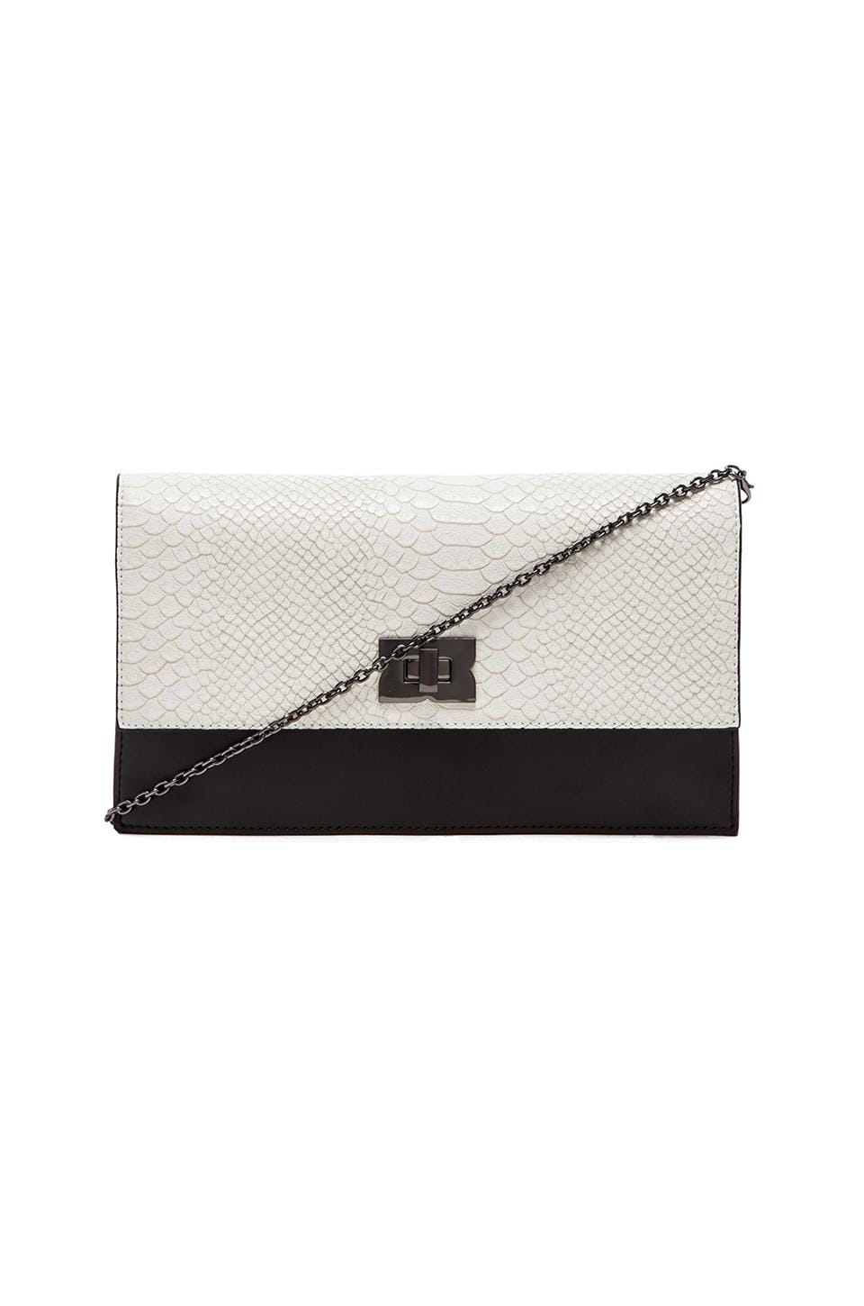 BCBGMAXAZRIA Penelope Blocked Clutch in White & Black