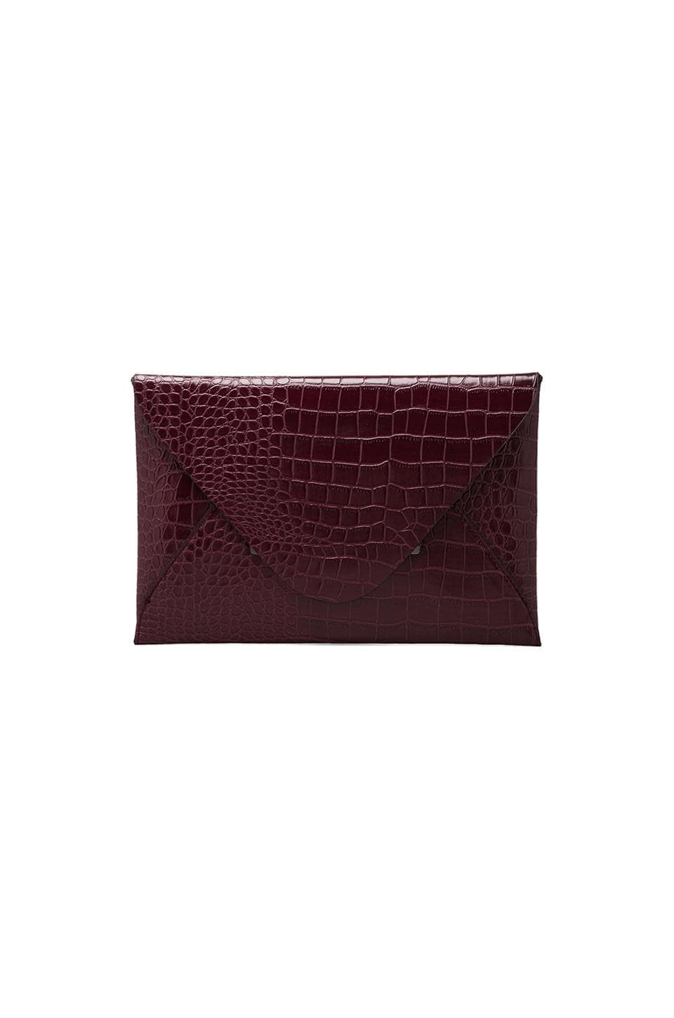 BCBGMAXAZRIA Croco Envelope in Burgundy