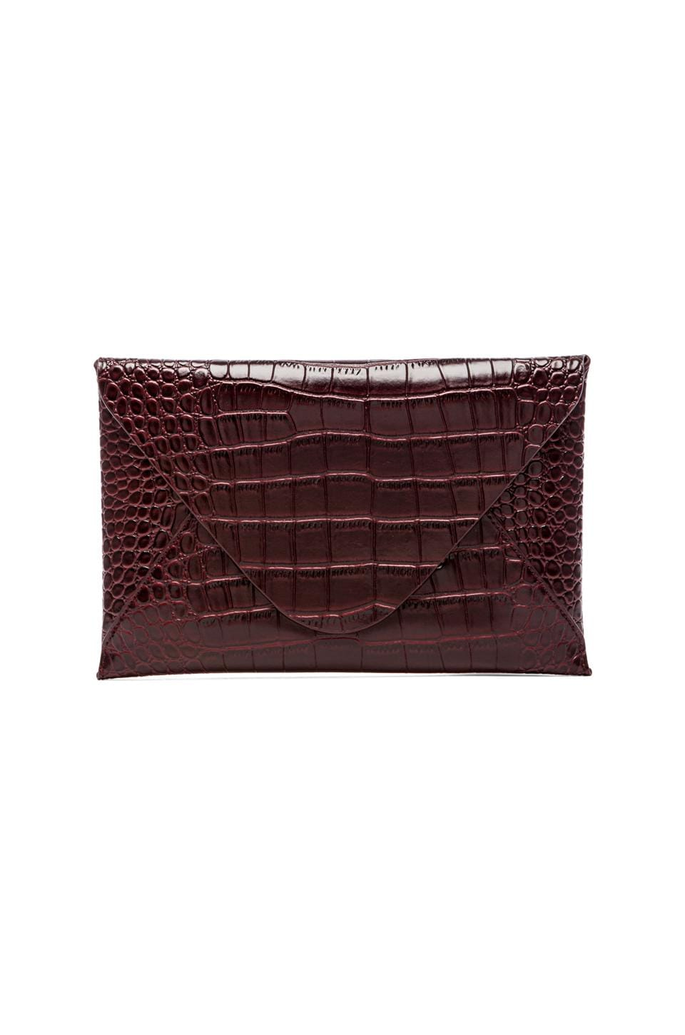 BCBGMAXAZRIA Harlow Crocodile Envelope Clutch in Royal Port