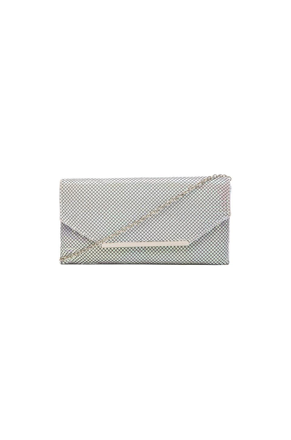 BCBGMAXAZRIA Bardot Metal Mesh Clutch in White