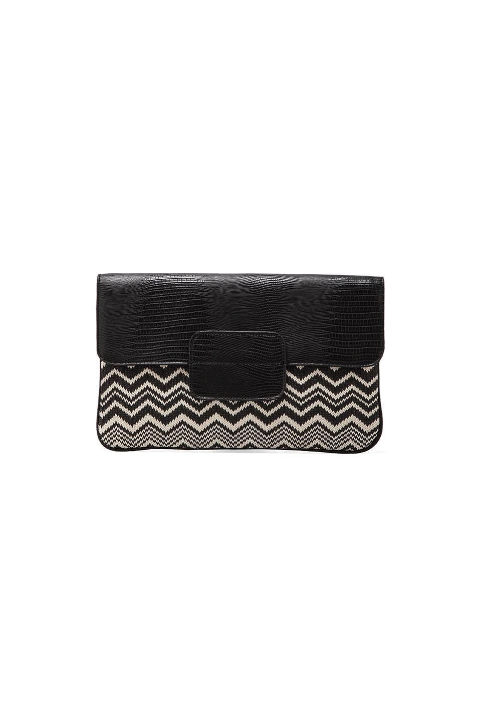 BCBGMAXAZRIA Leyla Straw Raffia Clutch in Black