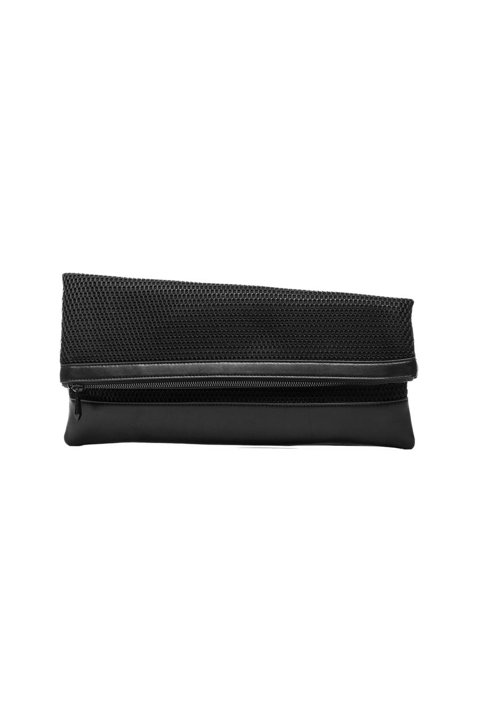 BCBGMAXAZRIA Mesh Fold-Over Clutch in Black