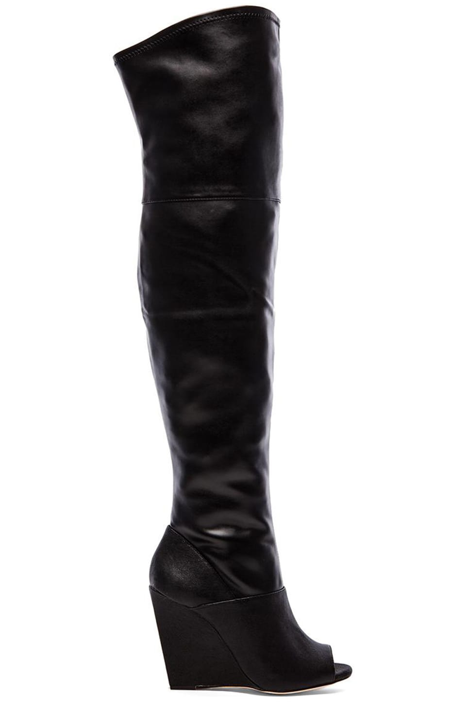 BCBGMAXAZRIA Gian Open Toe Over The Knee Boots in Black | REVOLVE