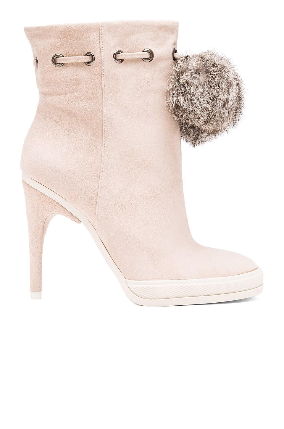 BCBGMAXAZRIA Perry Bootie With Rabbit Fur Pompoms in Alabaster Pink & White