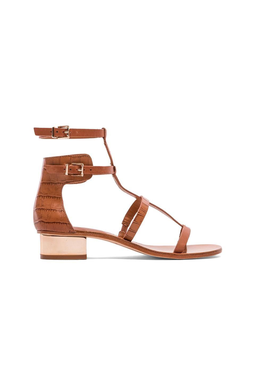 BCBGMAXAZRIA Cross Sandals in Camel