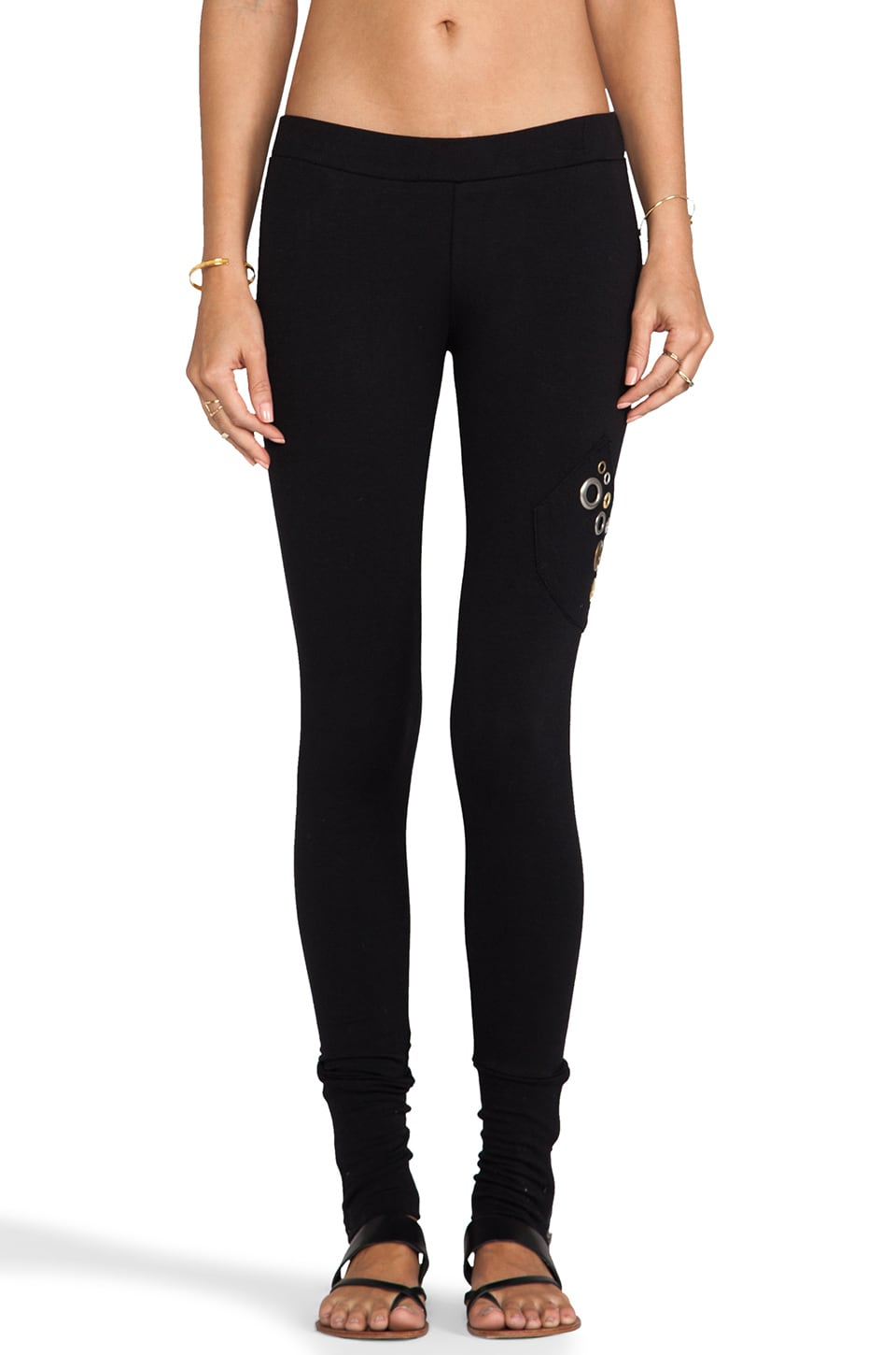 Beach Bunny Grommet Loungewear Zip Cuff Legging in Black