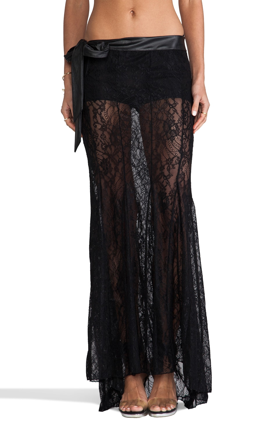 Beach Bunny Bedroom Eyes Maxi Skirt in Black