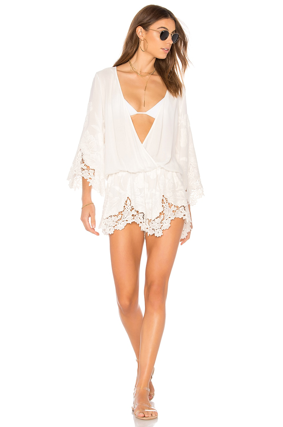 BEACH BUNNY Love Letter Romper in White