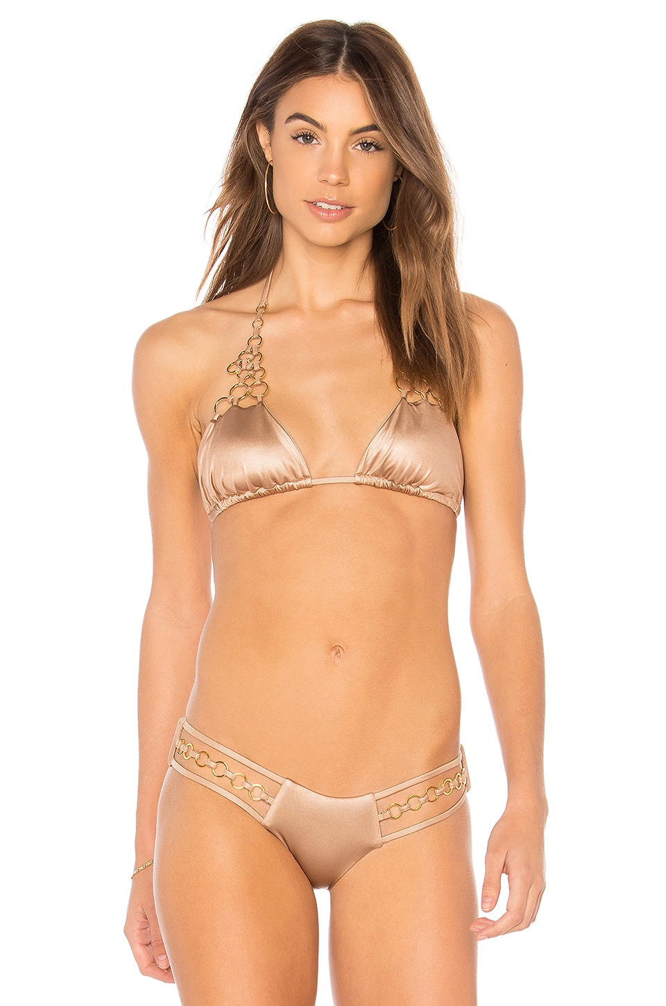 BEACH BUNNY Ireland Bikini Top in Metallic Neutral
