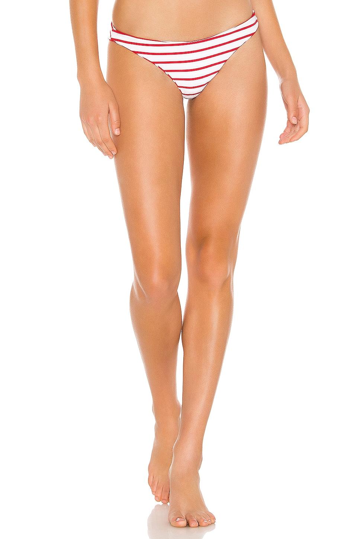 Beach Bunny Skimpy Reversible Bikini Bottom in Red White Stripe