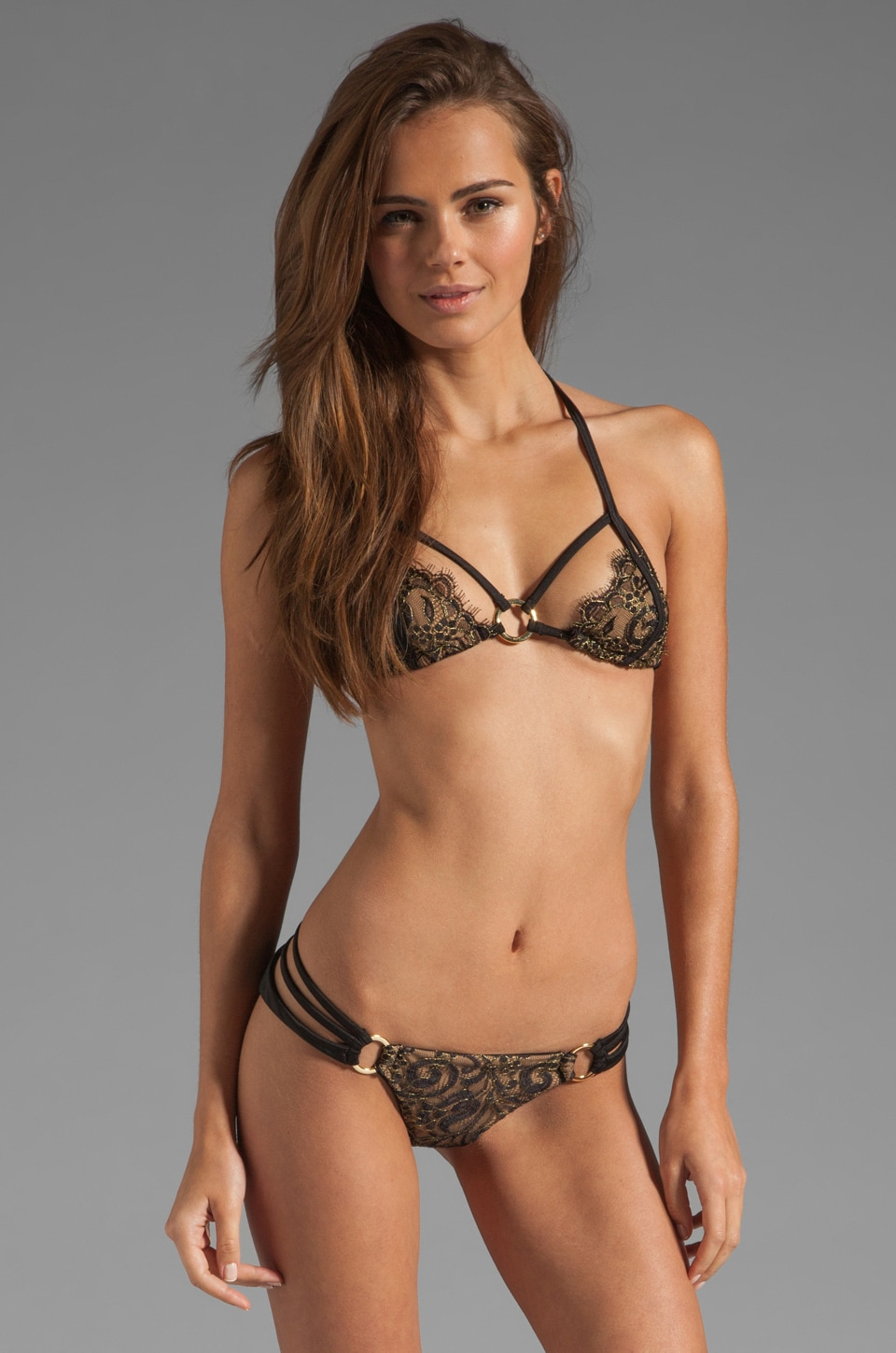 Beach Bunny Gunpowder & Lace Bikini Top in Black