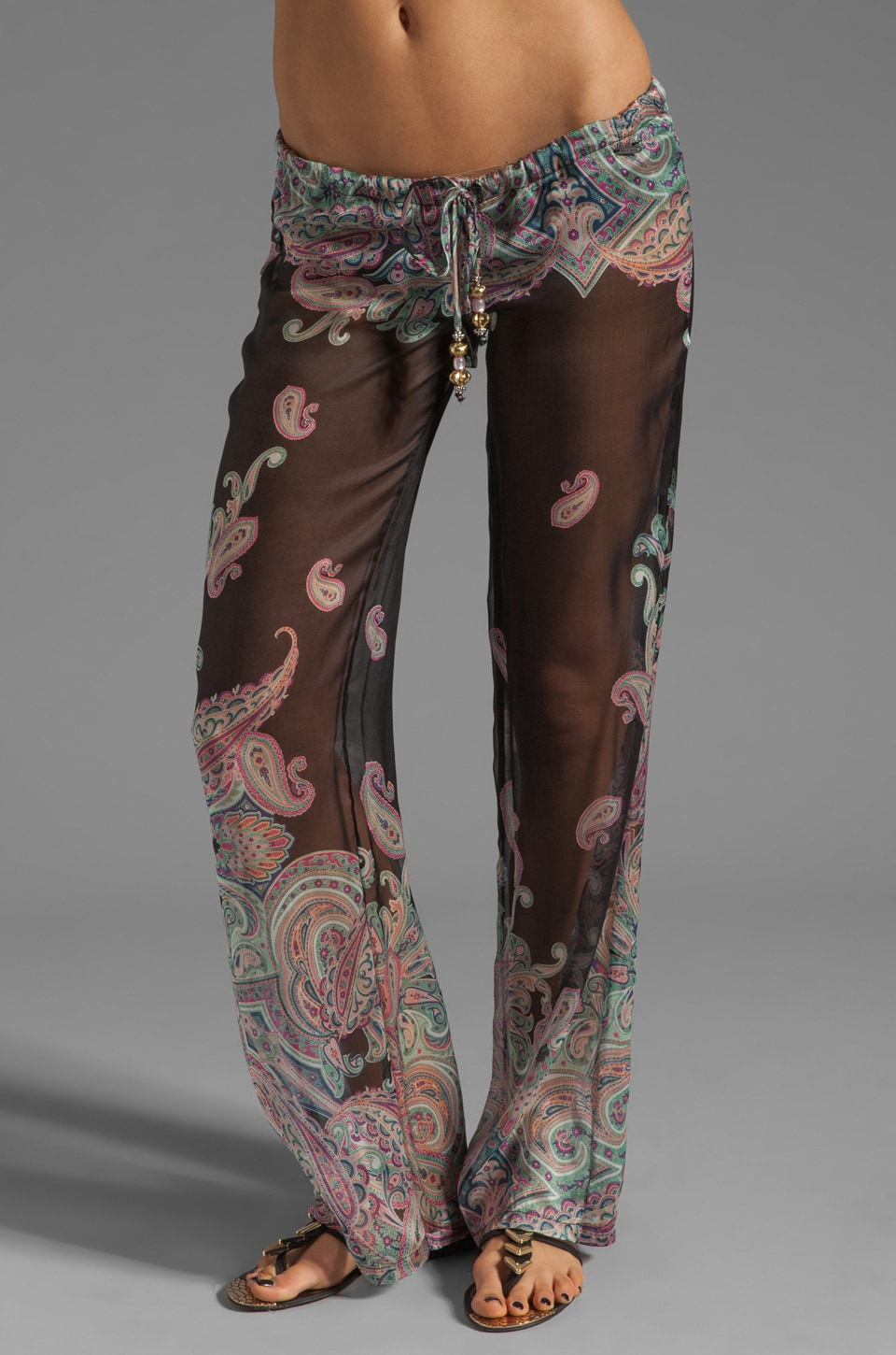 Beach Bunny Let Your Love Flow Pant in Black Paisley