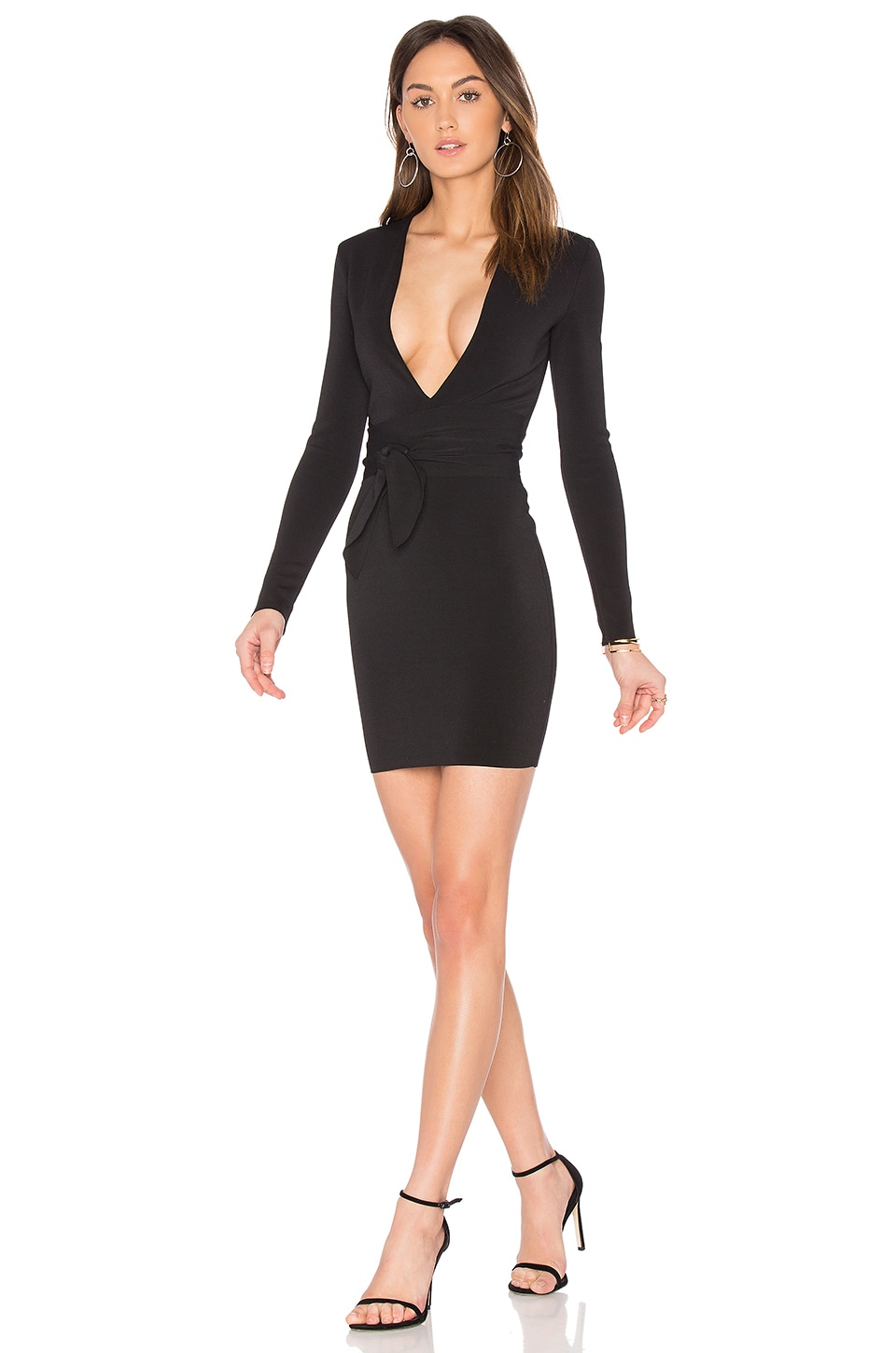 BEC&BRIDGE India Rosa Long Sleeve Tie Dress in Black
