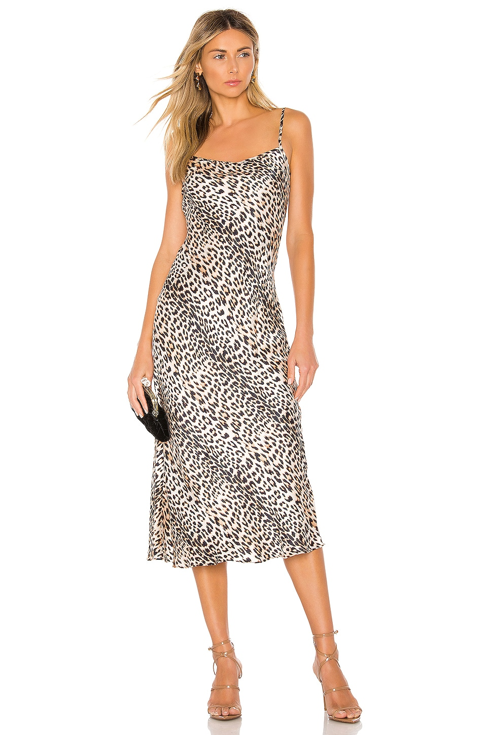 BEC&BRIDGE Feline Silk Midi Dress in Leopard Print
