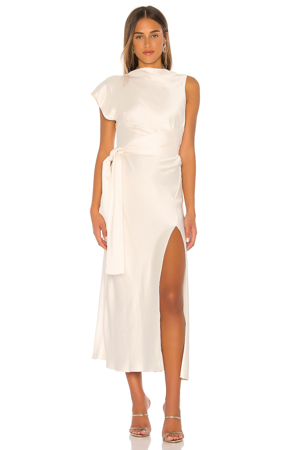 BEC&BRIDGE Piper Asymmetrical Midi Dress in Ivory