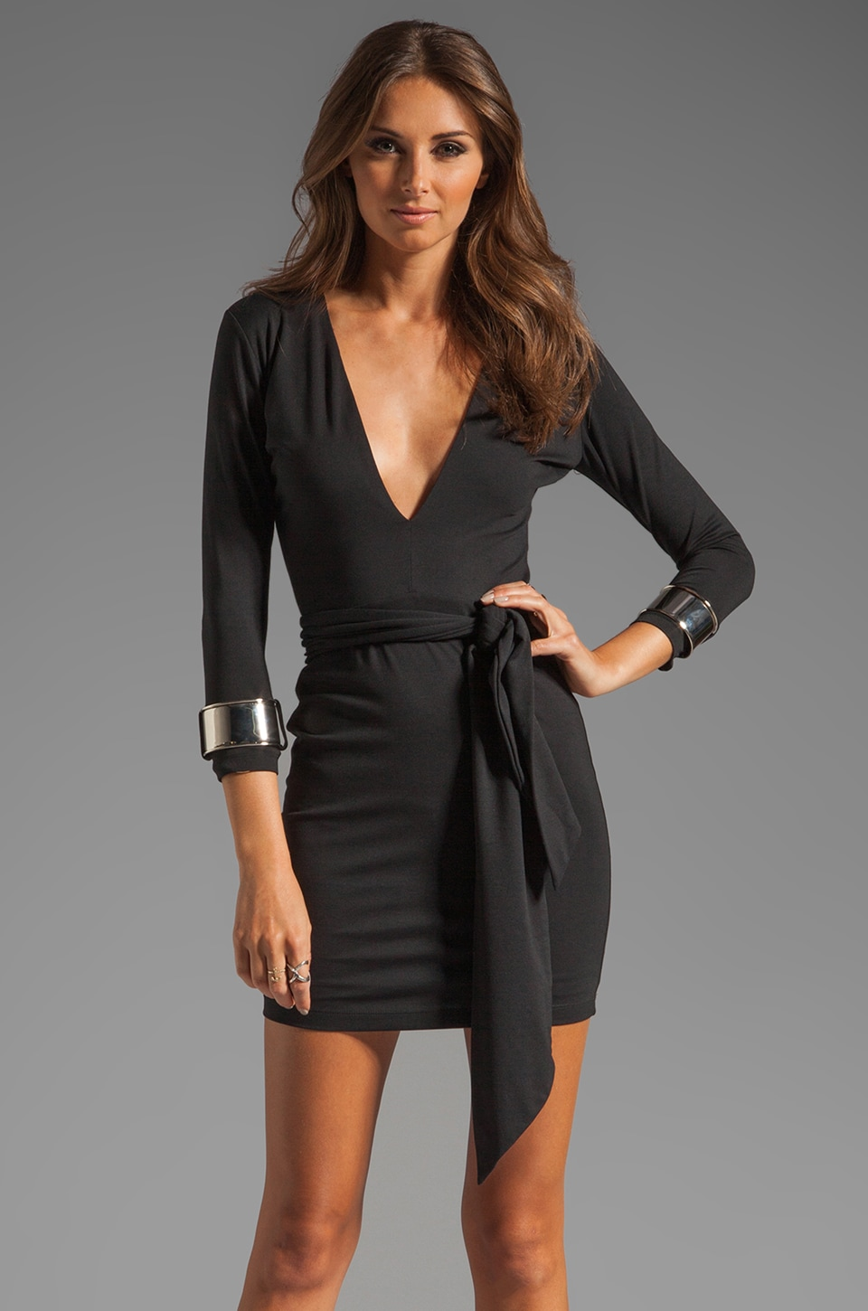 BEC&BRIDGE Jaguar Long Sleeve Cuff Dress in Black