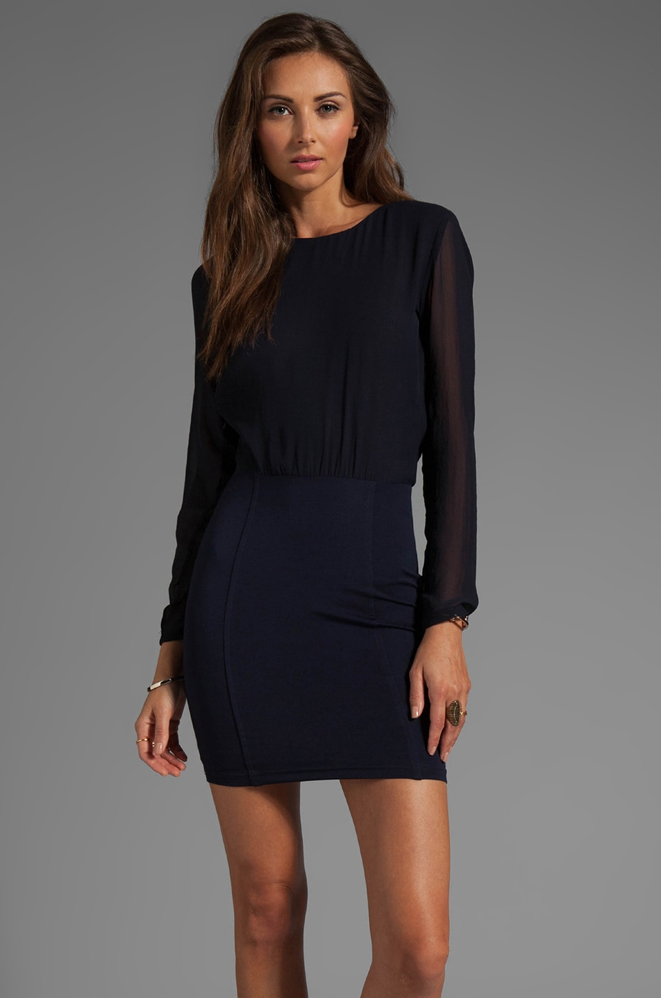 BEC&BRIDGE Freya Drape Long Sleeve Dress in Ink