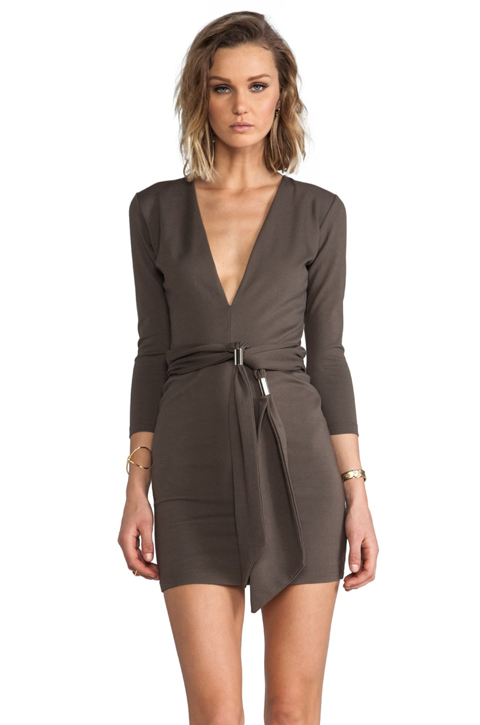 BEC&BRIDGE Exclusive Jaguar Long Sleeve Dress with Tie in Army Green
