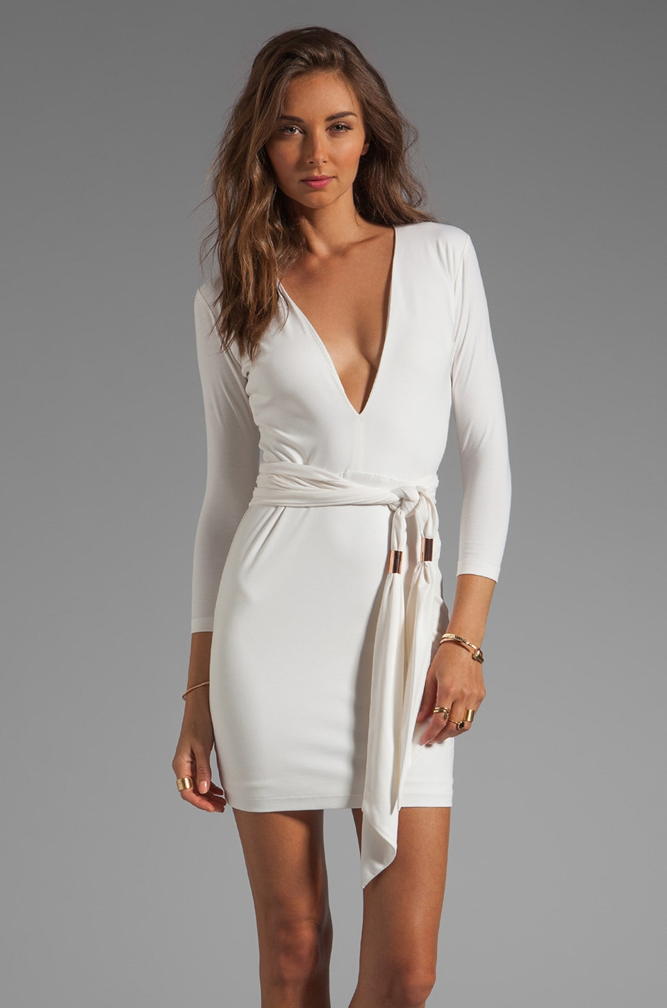 BEC&BRIDGE Exclusive Jaguar Long Sleeve Dress with Tie in White
