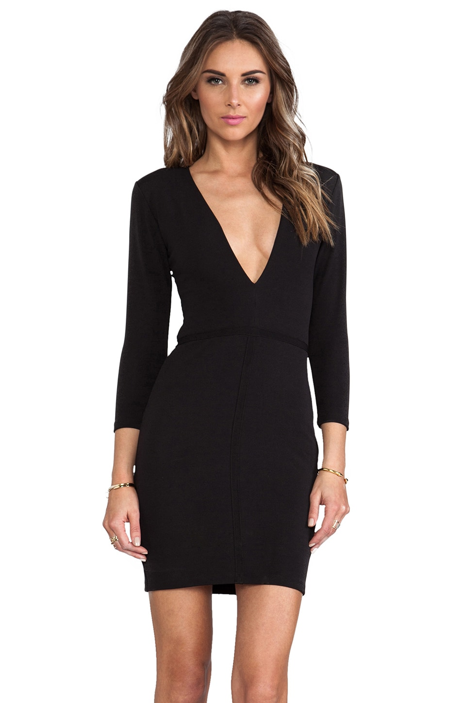 BEC&BRIDGE Imperial Deep V Dress in Black