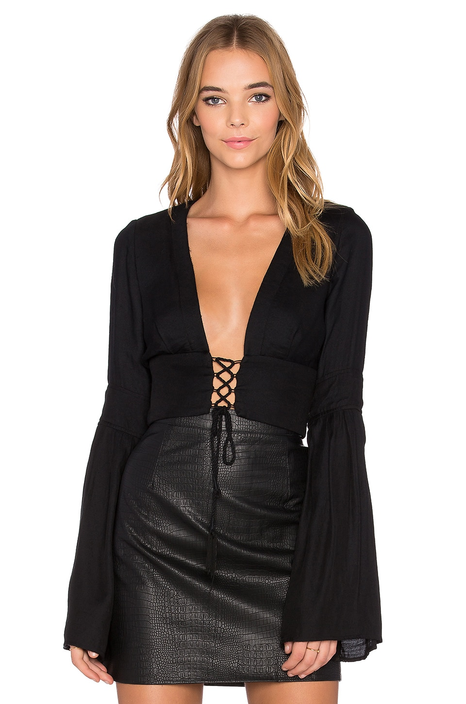 BEC&BRIDGE Panama Long Sleeve Crop Top in Black