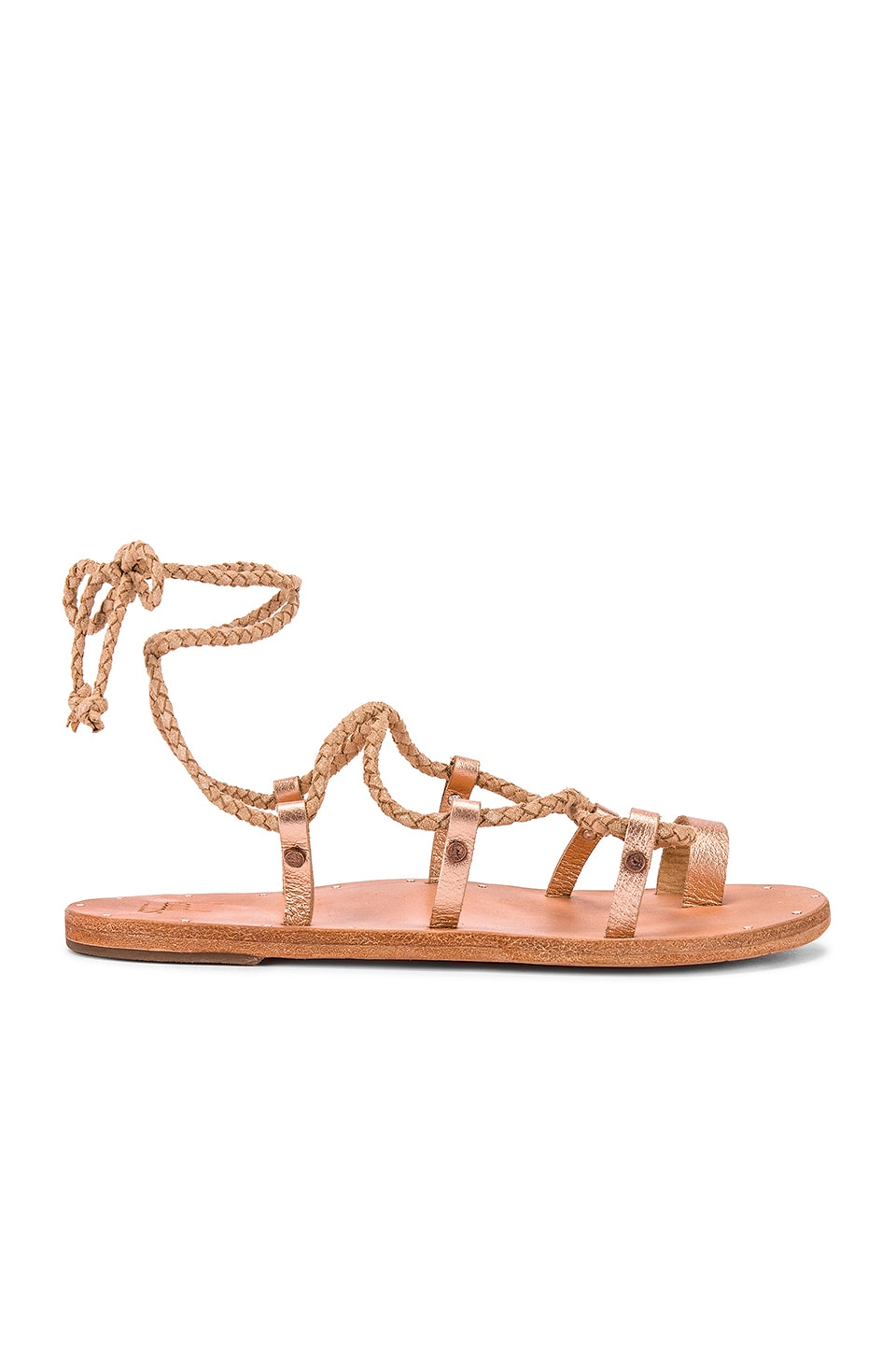 Beek Wren Sandal in Rose Gold & Natural