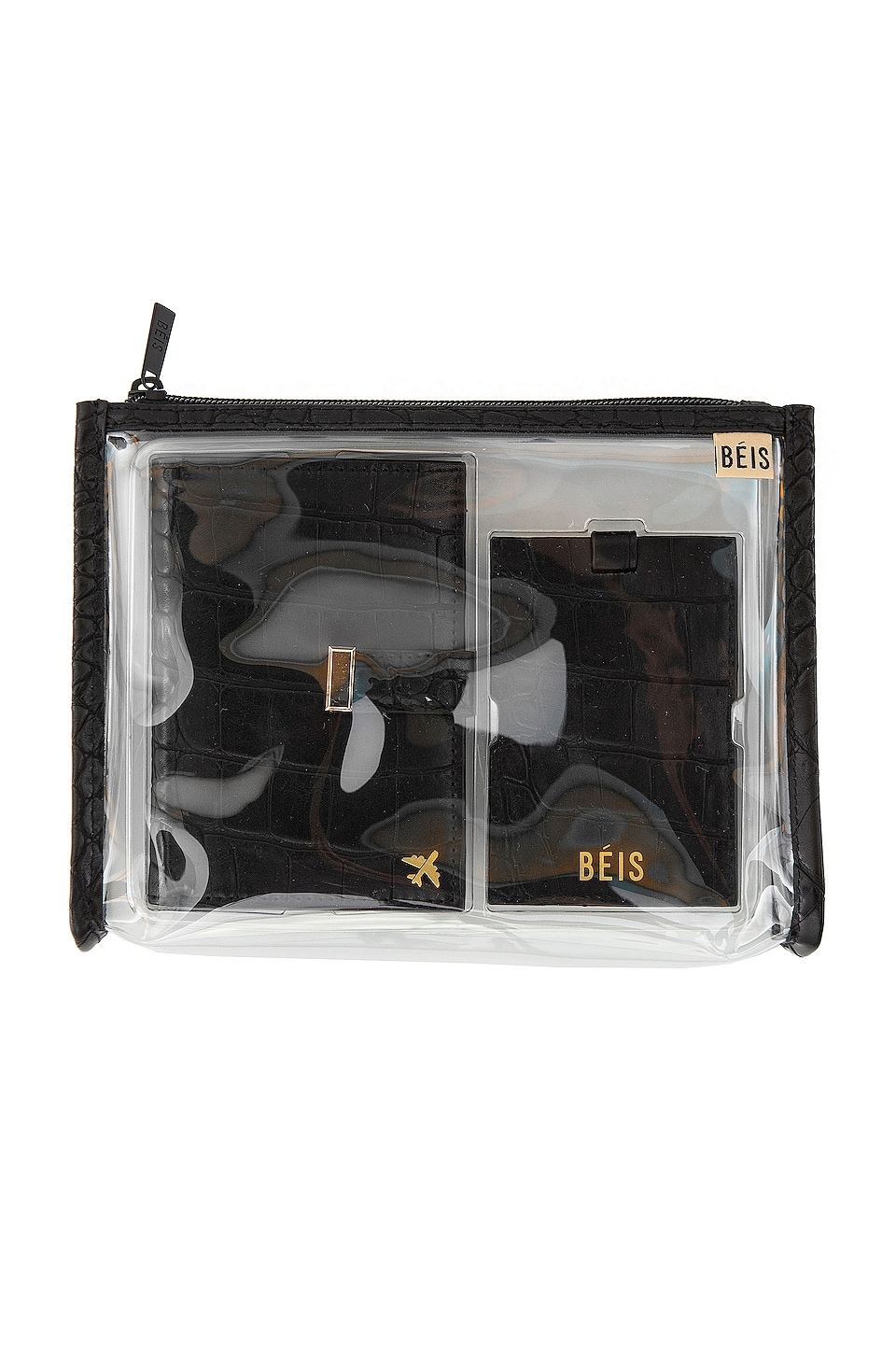 BEIS Passport and Luggage Tag Set in Black Croc