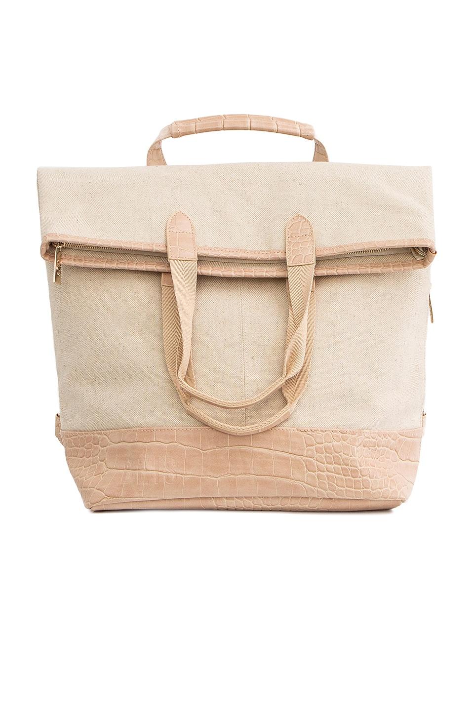 BEIS Convertible Backpack in Beige & Croc Trim