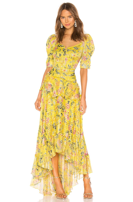 HEMANT AND NANDITA Satin Stripe Dress in Yellow