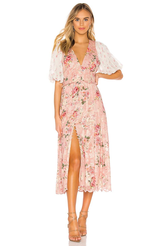 HEMANT AND NANDITA Blush Maxi Dress in Coral